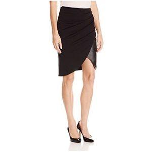Halston Heritage Ponte Lambskin Leather Skirt